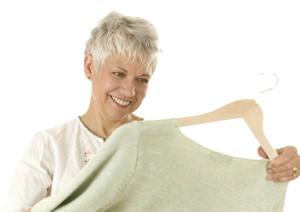 Woman Looking at Cardigan